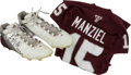 """Football Collectibles:Uniforms, 2012 Johnny Manziel Cleats Worn During Historic Victory over Alabama & 2011 """"True Freshman"""" Game Jersey...."""