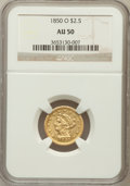 Liberty Quarter Eagles: , 1850-O $2 1/2 AU50 NGC. NGC Census: (39/183). PCGS Population(20/52). Mintage: 84,000. Numismedia Wsl. Price for problem f...