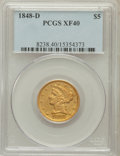 Liberty Half Eagles: , 1848-D $5 XF40 PCGS. PCGS Population (21/69). NGC Census: (5/90).Mintage: 47,400. Numismedia Wsl. Price for problem free N...