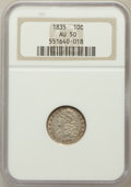 Bust Dimes: , 1835 10C AU50 NGC. NGC Census: (16/372). PCGS Population (48/293).Mintage: 1,410,000. Numismedia Wsl. Price for problem fr...
