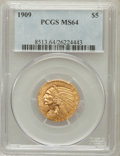Indian Half Eagles: , 1909 $5 MS64 PCGS. PCGS Population (386/95). NGC Census: (397/74).Mintage: 627,138. Numismedia Wsl. Price for problem free...