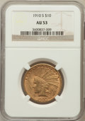 Indian Eagles: , 1910-S $10 AU53 NGC. NGC Census: (76/1264). PCGS Population(139/1274). Mintage: 811,000. Numismedia Wsl. Price for problem...