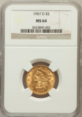 Liberty Half Eagles: , 1907-D $5 MS64 NGC. NGC Census: (516/108). PCGS Population(523/117). Mintage: 888,000. Numismedia Wsl. Price for problem f...