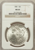 Morgan Dollars: , 1881 $1 MS65 NGC. NGC Census: (630/52). PCGS Population (927/83).Mintage: 9,163,975. Numismedia Wsl. Price for problem fre...