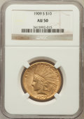 Indian Eagles: , 1909-S $10 AU50 NGC. NGC Census: (23/645). PCGS Population(39/630). Mintage: 292,350. Numismedia Wsl. Price for problem fr...