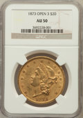 Liberty Double Eagles: , 1873 $20 Open 3 AU50 NGC. NGC Census: (105/6593). PCGS Population(96/4129). Numismedia Wsl. Price for problem free NGC/PC...