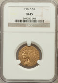 Indian Half Eagles: , 1916-S $5 XF45 NGC. NGC Census: (24/1832). PCGS Population(57/1267). Mintage: 240,000. Numismedia Wsl. Price for problem f...