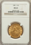 Liberty Eagles: , 1881 $10 MS63 NGC. NGC Census: (613/31). PCGS Population (262/19).Mintage: 3,877,260. Numismedia Wsl. Price for problem fr...