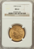 Indian Eagles: , 1909-D $10 MS61 NGC. NGC Census: (216/331). PCGS Population(197/462). Mintage: 121,540. Numismedia Wsl. Price for problem ...
