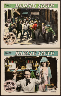 """From Hand to Mouth (Pathé, R-1920s). Lobby Cards (2) (11"""" X 14""""). Comedy. ... (Total: 2 Items)"""