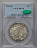 Walking Liberty Half Dollars, 1918-D 50C AU58 PCGS. CAC....