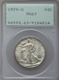 Walking Liberty Half Dollars, 1929-S 50C MS63 PCGS....