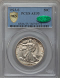 Walking Liberty Half Dollars, 1923-S 50C AU55 PCGS Secure. CAC....