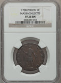 Colonials: , 1788 1C Massachusetts Cent, Period VF25 NGC. NGC Census: (12/89).PCGS Population (42/263). ...