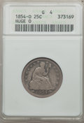 Seated Quarters: , 1854-O 25C Huge O Good 4 ANACS. NGC Census: (0/40). PCGS Population(6/49). Mintage: 1,484,000. Numismedia Wsl. Price for p...
