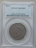 Large Cents: , 1816 1C MS63 Brown PCGS. PCGS Population (57/25). NGC Census:(42/47). Mintage: 2,820,982. Numismedia Wsl. Price for proble...