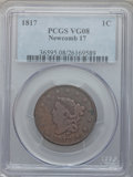 Large Cents, 1817 1C 13 Stars VG8 PCGS. Newcomb 17. PCGS Population (5/301). NGCCensus: (1/320). Mintage: 3,948,400. Numismedia Wsl. Pr...