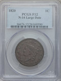Large Cents, 1820 1C Large Date Fine 12 PCGS. N-14. PCGS Population (2/487). NGCCensus: (4/568). Mintage: 4,407,550. Numismedia Wsl. Pr...