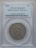 Large Cents: , 1834 1C Small 8, Large Stars, Medium Letters MS62 Brown PCGS. PCGSPopulation (8/15). ...