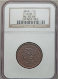 Large Cents: , 1848 1C MS63 Brown NGC. N-21. NGC Census: (66/163). PCGS Population(38/68). Mintage: 6,415,799. Numismedia Wsl. Price for...