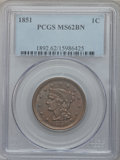 Large Cents: , 1851 1C MS62 Brown PCGS. PCGS Population (58/313). NGC Census:(121/554). Mintage: 9,889,707. Numismedia Wsl. Price for pro...