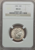 Barber Quarters: , 1892 25C MS63 NGC. NGC Census: (260/618). PCGS Population(358/562). Mintage: 8,237,245. Numismedia Wsl. Price for problem...