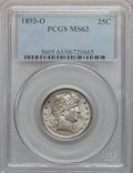 Barber Quarters: , 1893-O 25C MS63 PCGS. PCGS Population (40/66). NGC Census: (20/53).Mintage: 3,396,000. Numismedia Wsl. Price for problem f...