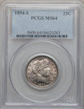 Barber Quarters: , 1894-S 25C MS64 PCGS. PCGS Population (49/19). NGC Census: (53/13).Mintage: 2,648,821. Numismedia Wsl. Price for problem f...