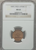 Flying Eagle Cents: , 1858 1C Large Letters MS62 NGC. NGC Census: (16/149). PCGSPopulation (183/1065). Mintage: 24,600,000. Numismedia Wsl. Pric...