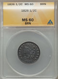 Half Cents: , 1826 1/2 C MS60 Brown ANACS. NGC Census: (4/93). PCGS Population(0/77). Mintage: 234,000. Numismedia Wsl. Price for proble...