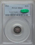 Three Cent Silver: , 1862 3CS MS64 PCGS. CAC. PCGS Population (257/317). NGC Census:(298/367). Mintage: 343,000. Numismedia Wsl. Price for prob...