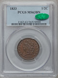 Half Cents: , 1833 1/2 C MS63 Brown PCGS. CAC. PCGS Population (68/83). NGCCensus: (65/120). Mintage: 120,000. Numismedia Wsl. Price for...