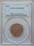 Two Cent Pieces: , 1866 2C MS64 Red and Brown PCGS. PCGS Population (128/61). NGCCensus: (62/83). Mintage: 3,177,000. Numismedia Wsl. Price f...