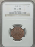 Two Cent Pieces: , 1865 2C MS64 Red and Brown NGC. NGC Census: (339/411). PCGSPopulation (599/279). Mintage: 13,640,000. Numismedia Wsl. Pric...