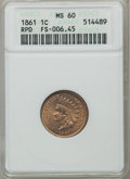 Indian Cents: , 1861 1C MS60 ANACS. RPD, FS-006.45. NGC Census: (0/712). PCGSPopulation (10/970). Mintage: 10,100,000. Numismedia Wsl. Pri...