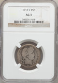 Barber Quarters: , 1913-S 25C AG3 NGC. NGC Census: (0/243). PCGS Population (187/724).Mintage: 40,000. Numismedia Wsl. Price for problem free...