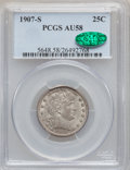 Barber Quarters: , 1907-S 25C AU58 PCGS. CAC. PCGS Population (4/61). NGC Census:(2/53). Mintage: 1,360,000. Numismedia Wsl. Price for proble...