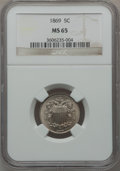 Shield Nickels: , 1869 5C MS65 NGC. NGC Census: (90/15). PCGS Population (56/11).Mintage: 16,395,000. Numismedia Wsl. Price for problem free...