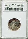 Proof Seated Quarters: , 1881 25C PR62 ANACS. NGC Census: (20/200). PCGS Population(49/198). Mintage: 975. Numismedia Wsl. Price for problem free N...