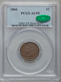 Indian Cents: , 1866 1C AU55 PCGS. CAC. PCGS Population (74/209). NGC Census:(37/303). Mintage: 9,826,500. Numismedia Wsl. Price for probl...