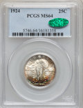 Standing Liberty Quarters: , 1924 25C MS64 PCGS. CAC. PCGS Population (241/156). NGC Census:(202/177). Mintage: 10,920,000. Numismedia Wsl. Price for p...