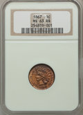 Indian Cents: , 1867 1C MS63 Red and Brown NGC. NGC Census: (57/277). PCGSPopulation (116/309). Mintage: 9,821,000. Numismedia Wsl. Price ...