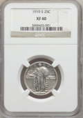 Standing Liberty Quarters: , 1919-S 25C XF40 NGC. NGC Census: (26/254). PCGS Population(54/369). Mintage: 1,836,000. Numismedia Wsl. Price for problem ...