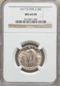 Standing Liberty Quarters: , 1917-D 25C Type Two MS64 Full Head NGC. NGC Census: (82/38). PCGSPopulation (120/73). Mintage: 6,224,400. Numismedia Wsl. ...