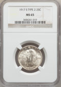 Standing Liberty Quarters: , 1917-S 25C Type Two MS65 NGC. NGC Census: (52/16). PCGS Population(67/16). Mintage: 5,552,000. Numismedia Wsl. Price for p...