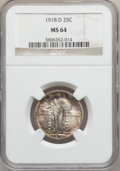 Standing Liberty Quarters: , 1918-D 25C MS64 NGC. NGC Census: (85/61). PCGS Population (154/69).Mintage: 7,380,000. Numismedia Wsl. Price for problem f...