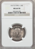 1917-D 25C Type One MS64 Full Head NGC. NGC Census: (342/270). PCGS Population: (586/517). MS64. Mintage 1,509,200. ...(...
