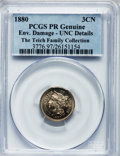 Proof Three Cent Nickels, 1880 3CN -- Environmental Damage -- PCGS Genuine. Proof UncDetails. NGC Census: (0/872). PCGS Population (4/1018). Mintage...