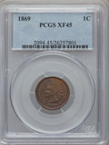 Indian Cents: , 1869 1C XF45 PCGS. PCGS Population (83/349). NGC Census: (69/349).Mintage: 6,420,000. Numismedia Wsl. Price for problem fr...