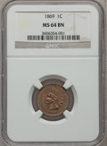 Indian Cents: , 1869 1C MS64 Brown NGC. NGC Census: (76/38). PCGS Population(55/15). Mintage: 6,420,000. Numismedia Wsl. Price for problem...